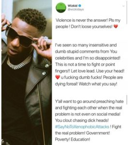 "XENOPHOBIA:- ""You All Are Fvcking Dumb"" – Wizkid Blasts Burna Boy, AKA, M.I & Other Celebrities (Read What He Said)"