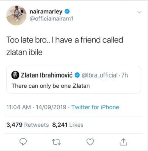 "Naira Marley Responds To Ibrahimovic Who Said ""There Can Only Be One Zlatan"""